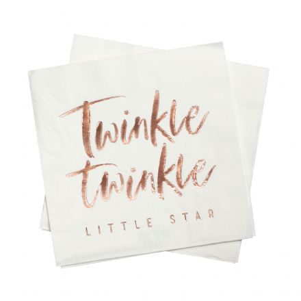Twinkle Twinkle Little Star Rose Gold Paper Napkins